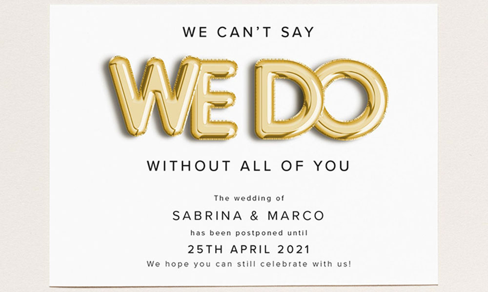 10 Swanky Change The Date Cards To Send If Your Wedding Is Postponed Dwp